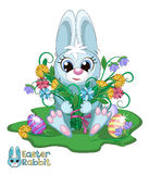 Little Easter Bunny. With a bouquet of flowers Royalty Free Stock Photography