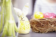 Little easter bunny with eggs Royalty Free Stock Image