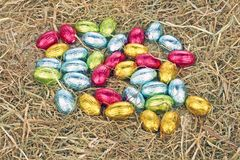 Little easter eggs in straw Royalty Free Stock Image