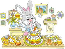 Bunny cooking an Easter cake. Little Easter rabbit decorating a fancy pie to the holiday, a vector illustration in funny cartoon style Royalty Free Stock Images