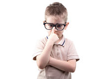 Little educated boy with glasses Royalty Free Stock Images