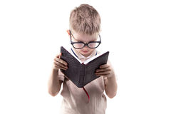 Little educated boy reading book Royalty Free Stock Photos