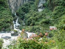 Little electric power station on Marsyangdi river in Dharapani - Nepal Stock Images