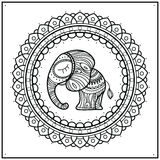 Little elephant in frame mandala. Hand-drawn cute illustration. Indian theme with ornaments. Stock Photo