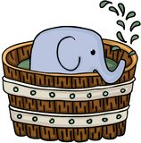 Little elephant inside wooden tub for a bath. Scalable vectorial image representing a little elephant inside wooden tub for a bath , isolated on white stock illustration