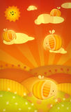 Little Elephants. Funny Elephants with Wings Collect Honey royalty free illustration