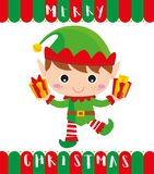 Little elf brings you a gifts vector illustration