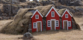 Little elf houses in Djupivogur on Iceland Royalty Free Stock Photos