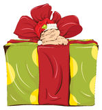 Little elf and a large box. The little elf was asleep on a big gift box. Vector illustration Stock Image