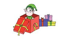 Little elf - present Royalty Free Stock Image