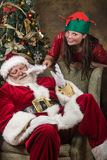 Little Elf and Santa Royalty Free Stock Image