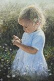 Little Emmi. Little Girl with flower in meadow painting Stock Images