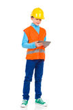 Little engineer working on a digital tablet Stock Photo