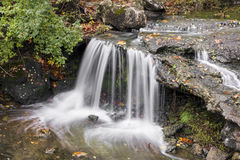 Little Englewood Waterfall. A small waterfall plunges over a rocky ledge in Englewood, Ohio Stock Images