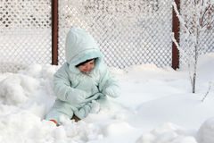 Little Eskimo. A baby sitting on the snow Stock Image