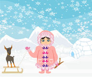 Little Eskimo girl and her dog Royalty Free Stock Photo