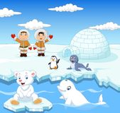 Little Eskimo kids with arctic animals and igloo house background Royalty Free Stock Photography