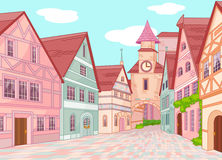 Little Europe town street vector illustration
