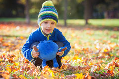 Little excited boy playing with leaves in the park Stock Photos
