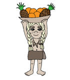 Little exotic girl with pineapple and orange in a basket  Royalty Free Stock Photos