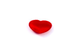 Little fabric red heart. On a white background Stock Image