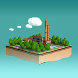 Little factory with chimneys surrounded by trees on small island  fluffy stylized clouds isolated blue background. Royalty Free Stock Photography