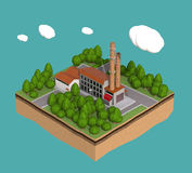 Little factory with chimneys surrounded by trees on small island  fluffy stylized clouds isolated blue background. Stock Image