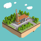 Little factory with chimneys surrounded by trees on small island  fluffy stylized clouds isolated blue background. Stock Photo