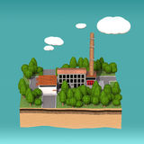 Little factory with chimneys surrounded by trees on small island  fluffy stylized clouds isolated blue background. Stock Images