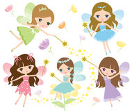 Little fairies in colorful dress with watercolor wings, magic wand and flowers Vector Stock Image