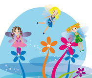 Little fairies flying on the flowers. Vector image of flying little fairy girls among colorful flowers in the blue background Stock Images
