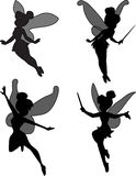 Little fairy. Little magic fairy black silhouette Stock Image