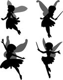 Little fairy. Little magic fairy black silhouette Royalty Free Stock Photo