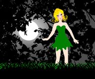 Little fairy. In the moonlight vector illustration