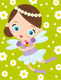 Little fairy. Illustration of little fairy with bouquet of flowers Stock Photography