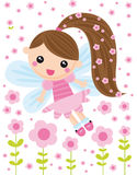 Little fairy. Illustration of little fairy with pink flowers Royalty Free Stock Images