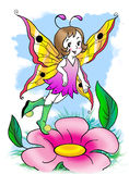 Little fairy dancing on a flower petal. Picture whith  little cheerful flying and dancing  fairy Stock Photo