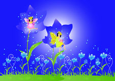 Little fairy and beautiful flowers. Cute little fairy sitting on a flowers stock illustration