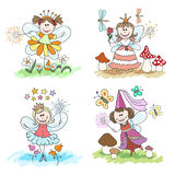 Little fairy children drawings Royalty Free Stock Photos