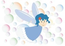 Little fairy and color bubbles Royalty Free Stock Photos