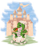 Little fairy dragon and castle Royalty Free Stock Photography