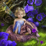 Little fairy with a fabulous beast. Little fairy fairy sitting in the forest with an unusual blue beast like a kid royalty free stock photo