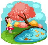 Little fairy girl. Illustration of landscape cute little fairy girl blowing flowers Stock Images