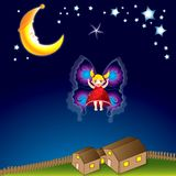 Little fairy girl. Little girl dreaming she is a fairy stock illustration