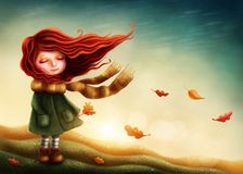 Little fairy girl. In autumn Stock Images