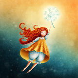 Little fairy girl flying. In the sky with dandelion Stock Illustration