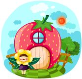 Little fairy girl with strawberry house Royalty Free Stock Photos