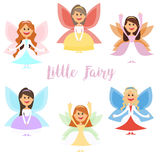 Little fairy girls whith wings and in ball dresses. . Vector illustration Royalty Free Stock Image