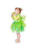 Little fairy with green frog Royalty Free Stock Image