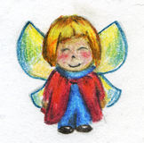 Little fairy. Hand drawn crayon sketch of a cartoonish little fairy girl or boy wearing warm clothes and smiling. She or he has four wings like a butterfly Stock Image